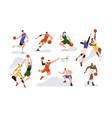 man players playing basketball with orange ball vector image vector image