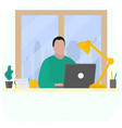 man works at a laptop fashion trend vector image vector image