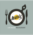 menu for live music restaurant with fried egg vector image vector image