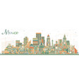 mexico city skyline with color buildings vector image vector image