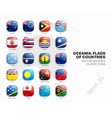 oceania countries flags 3d glossy icons set vector image vector image