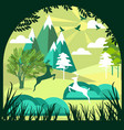 paper art cut and craft style green forest and vector image