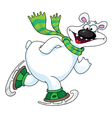 polar bear on ice skates vector image