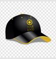 realistic black baseball cap vector image vector image