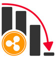 ripple falling acceleration chart flat icon vector image vector image