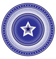 round die stamp or chip with blue radial star vector image vector image