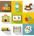 school and education icon set flat style vector image vector image