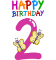 second birthday anniversary card vector image vector image