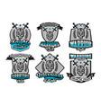 set collection logos emblems warrior skull vector image