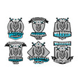 set collection of logos emblems warrior skull vector image vector image