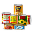 set of canned food vector image vector image