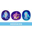 set of cute cartoon princess mermaids on vector image vector image
