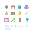 set simple line icons tennis vector image vector image