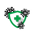 shield with a medical cross protects against dange vector image vector image