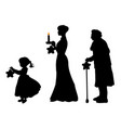 silhouette girl mother grandmother bear star vector image vector image