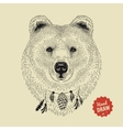 sketch a bear face bear head front vector image