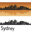 Sydney V2 skyline in orange background in editable vector image