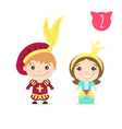 two happy cute kids characters Boy in prince vector image