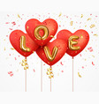valentines day background 3d red balloons heart vector image