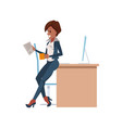 woman is working at table in office vector image vector image