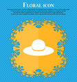 Woman hat icon sign Floral flat design on a blue vector image