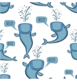 Animated whale pattern vector image vector image