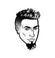bearded men face hipster head with haircuts vector image vector image