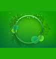 blank green circle frame on green background vector image vector image