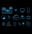 blue line icons on black background thin linear vector image vector image