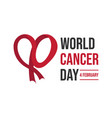 cancer day concept heart shape ribbon vector image