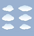 cartoon white clouds set iconson blue vector image vector image