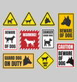 caution dog signs beware of dog vector image vector image