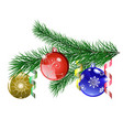 Christmas tree branch with Christmas balls vector image vector image