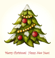 Christmas watercolor greeting card with Christmas vector image
