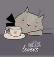 cute little white cartoon kitten with tea vector image