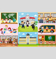 different scenes at school with students vector image
