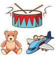 different toys on white background vector image vector image