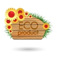 Eco product wood banner with flowers vector image