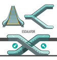 escalator moving staircase with arrows showing way vector image