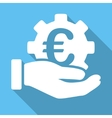Euro Development Service Flat Square Icon with vector image