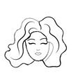figure cute woman face with hairstyle vector image vector image