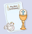 first communion card with host wafer and chaliz vector image vector image