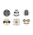 fitness club vintage logo set retro badge vector image