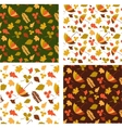 Four autumn seamless patterns with seasonal leafs vector image vector image