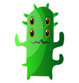 four-eyed green monster with thorns on white vector image vector image