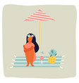 girl sitting on beach vintage poster vector image vector image