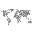global map mosaic of network icons vector image vector image