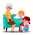grandmother is reading a book to her grandchildren vector image