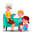 grandmother is reading a book to her grandchildren vector image vector image