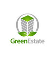 green estate circle building with leaf icon logo vector image vector image